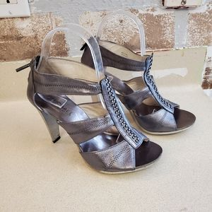 Michael Kors leather rhinestone heels